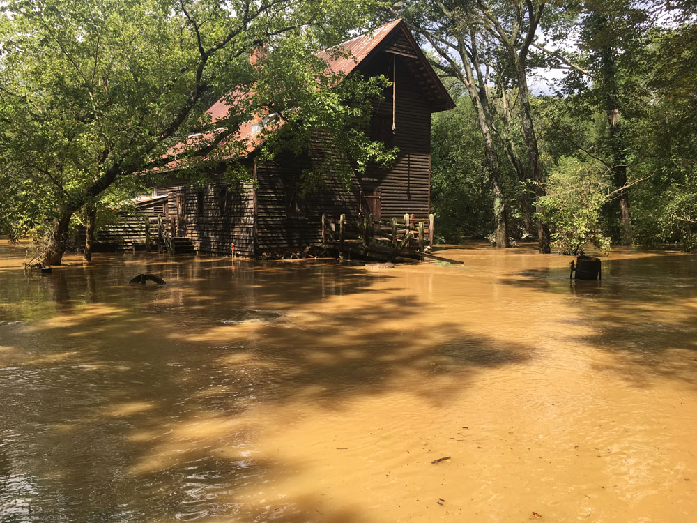 The mill at West Point (2:00pm, 9/17/18) High Water mark ~ 2' higher.