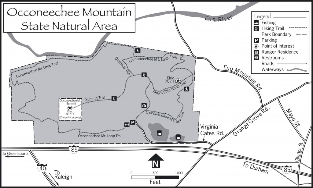 State Park Nc Map.Occoneechee Mountain State Natural Area Eno River Association